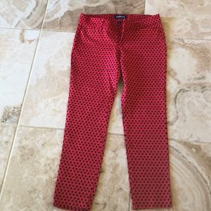 Old Navy size 6 red with navy dots pants